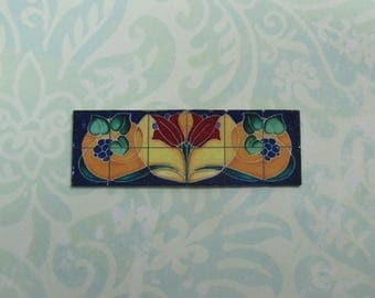 Dollhouse Miniature Art Nouveau Tile Mural