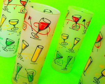 Cocktail HiBall Highball Frosted Brightly Patterned Tall Super Retro Barware Kitschy Kitchen Patio Time Vintage Drinking Glasses