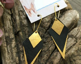 Leather and Brass Handpainted Earrings