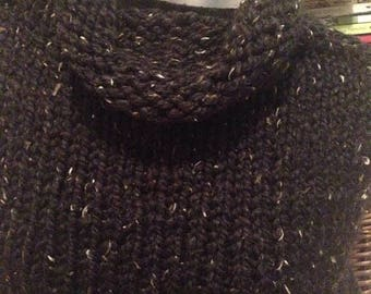 SALE Black Tweed Handknit Capelet Wrap Shawl