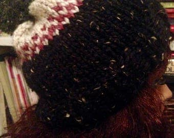 Chunky Hand Knit Fair Isle Hat Speckled Black, Pink and Ivory with XL Pompom