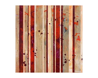 """ORIGINAL Abstract Painting """"Hoppler"""" by Lisa Carney, Modern Art, Minimalist Painting, Stripes, Organic, Geometric, Contemporary, Red, Beige"""