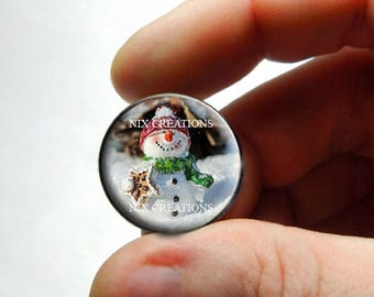 Glass Snowman Cabochon - P1 - for Jewelry and Pendant Making