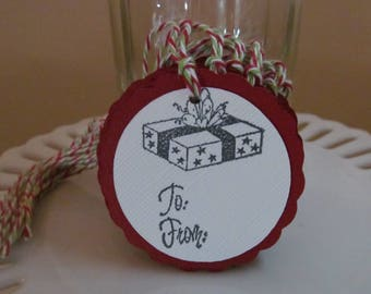 "Presents ""to / from"" tags - deep red - set of 10 - perfect for gift tags, holiday parties, classroom treats, etc.!"