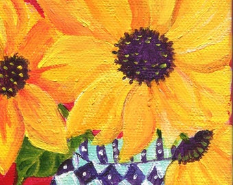 Sunflowers painting, Sunflower Art, Easel, blue and white vase, Original acrylic mini canvas, SharonFosterArt