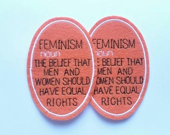 Set of 2 feminism iron on felt patch dictionary embroidered applique - feminist patch - patches for jackets - womens rights - embroidery