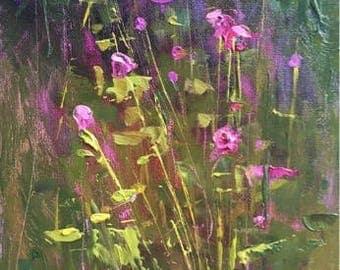 Meadow Wildflowers plein air  Landscape Original oil Painting Karen Margulis 7x5