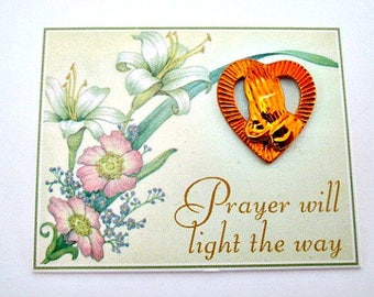 Avon Prayer Sentiment Scatter Tac Pin on Card in Original Box - Religious Christian Praying Hands Gift