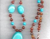 ON SALE Turquiose & Agate Necklace