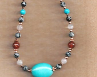ON SALE Turquoise and Assorted Gemstone Necklace