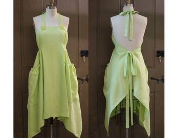 Linen Hippy Apron in Lime