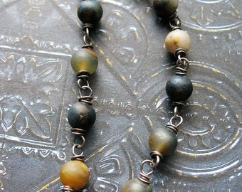 Matte Golden and Blue Pietersite Antiqued Sterling Silver Bead Chain - 1 - 6 inch Segment