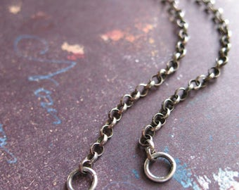 """Antiqued Sterling Silver Filled Rolo Chain Segments with Sterling Hook Clasp - 18.5"""" in length"""