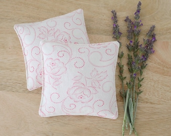 Petite Lavender Sachet, Vintage French Floral in Pink & White