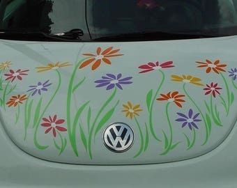 Daisy Flower Decal Stickers in Multicolor Vinyl for Volkswagon Beetle HOOD only by Tonyabug Sticker Momma
