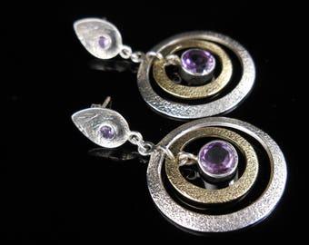 Sterling silver amethyst gemstone post earrings