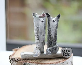Bride and Groom Wolf Wedding Cake Topper - White and Gray Wolf  Cake topper -Clay Wolf -MADE TO ORDER-Rustic Cake Topper -Woodland Topper