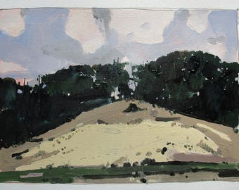 Lions Hill at Dust, Original Autumn Landscape Painting on Paper, Stooshinoff