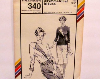 Stretch and Sew Misses' Asymmetrical Blouse Pattern 340