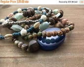 50% OFF- Beaded Stack Bracelets-Glass and Wood-Cuff Accessories-Boho Style-At the Sea