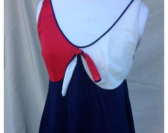MEMORIAL DAY SALE- Vintage Sailor Sleep Top-Lingerie Top-Red White and Blue