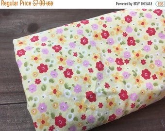 MEMORIAL DAY SALE- Yellow Floral Fabric-Reclaimed Vintage Bed Linens-