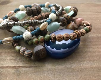 Beaded Stack Bracelets-Glass and Wood-Cuff Accessories-Boho Style-At the Sea