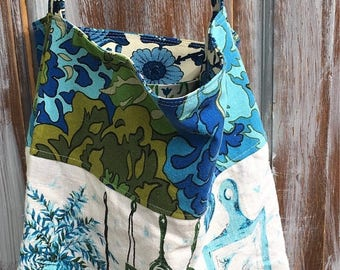CRAZY SALE- Tea Towel Market Tote-Upcycled Fashion-Kitschy-Boho Style