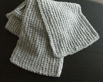 Gray Super Scarf, Hand Knit Wool Free Grey Superscarf