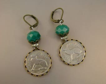 Hop Along Now - Vintage 1960s Lucky Irish Rabbit Hare Coins Rhinestones Teal Green Glass Beads Recycled Jewelry Post Earrings