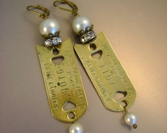 Doggie Mom - Vintage Brass Dog License Tags 1949 and 1951 Kent County Michigan Pearls Rhinestones Recycled Upcycled Jewelry Earrings