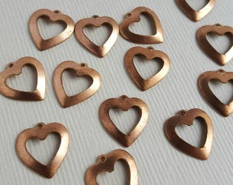 Vintage copper cutout heart charms