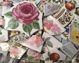 450 Mosaic Tiles Broken Plate Mix Hand Cut Mosaic Art Supply China Tile Pink Yellow Flowers Roses Chintz Mix