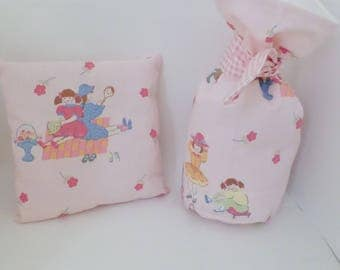 Pink pocket pillow and refillable doorstop - Laura Ashley vintage fabric