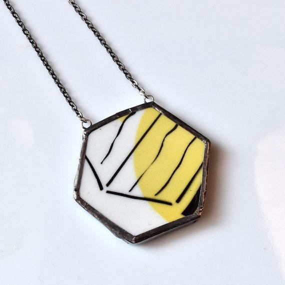 Broken China Jewelry Hexagon Necklace - Black White and Yellow