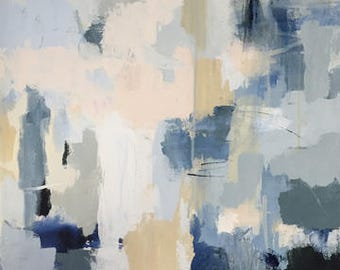 blue abstract painting contemporary design original painting 20x24 indigo blue and pale pink grey blue pamela munger