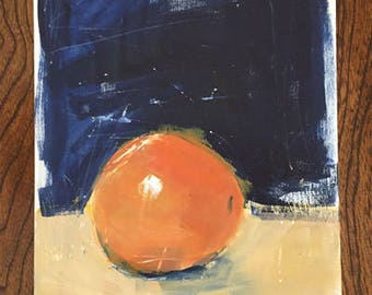 orange painting blue and orange still life acrylic painting on wood panel wall art  pamela munger