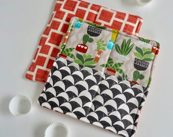Modern Hot Pads - Cactus Hot Pad - Black and White Hot Pads - Trivet - Wedding Gift - Set of Two Hot pads - Baking Gift - Cooking Gift
