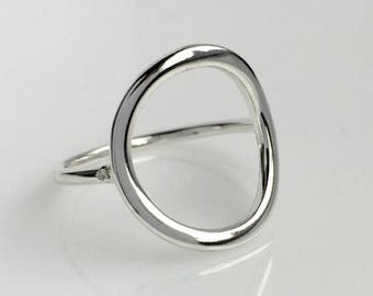ON SALE TODAY Sterling Silver Circle Ring, Geometric Ring, Open Circle Design in Shiny Finish