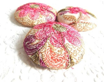 3 peach embroidered floral fabric buttons,  1 7/8 inches, 1.9 inches, 4.7 cm, 48.26 mm, size 75 buttons