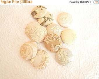 CLEARANCE - Ivory fabric buttons, lot of 11, embroidered buttons, 1.5 inches, size 60 buttons