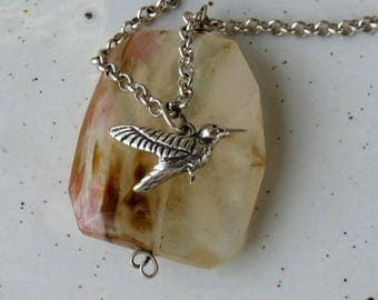Rutilated Quartz and Bird Charm Pendant Nacklace Sterling Silver Rolo Chain Necklace