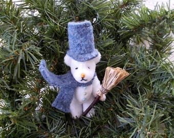 Miniature Bear Frosty the Snowman with Top Hat Scarf Carrot Nose  Gift OOAK Collectible Miniature Bear  Plush Ornament