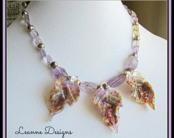CIJ SALE Lavender and Gold Glass with Ametrine  Necklace