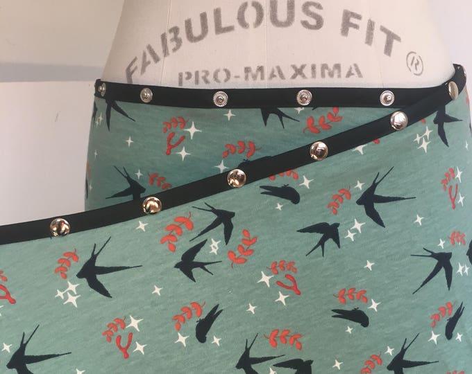 Organic Aqua Swallow Snap Around Skirt by Erin MacLeod