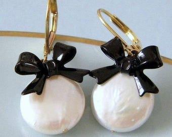 Freshwater Pearl Black Enamel Bow Earrings