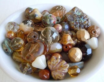 20% Summer SALE Bead Soup Mix - Natural, Browns, Beige, Crystal Picasso, Topaz - Czech Glass Beads 30 grams from Mountain Shadow