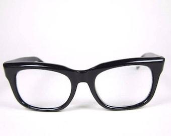 ON SALE Vintage Horn Rim Eyeglasses 60s 70s Black Plastic Frame Austria Glasses Peerage