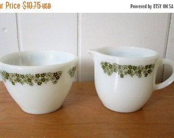 50% OFF SALE vintage Spring Blossom cream and sugar Pyrex Corning