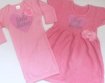 Little sister big sister outfits..new baby-- hospital outfit... pink baby gown and dress